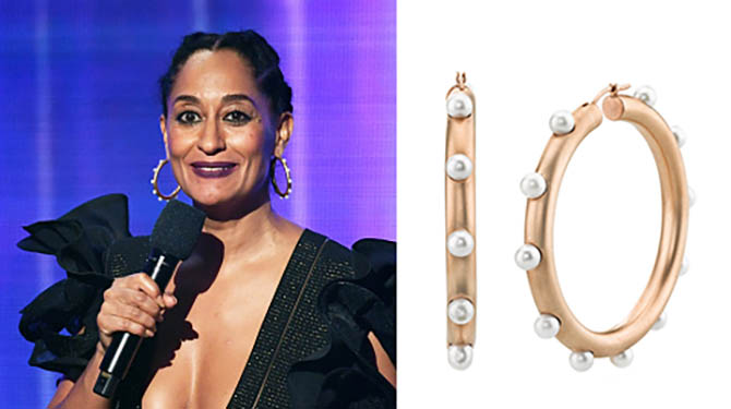 At the 2017 American Music Awards on November 19, host Tracee Ellis Ross speaks onstage wearing rose gold and Akoya pearl hoops by Irene Neuwirth. (Photo by Kevin Winter/Getty Images)