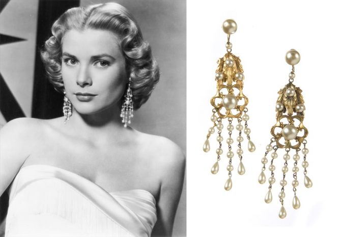 A pair of gold-plated, clip-on chandelier earrings, done using Joseff's signature Russian plating technique, with simulated pearls was worn by Grace Kelly in a publicity still for 'High Society' (1956). The Julien's Auctions estimate for the earrings is $10,000 - $15,000. Photo Julien's Auctions.
