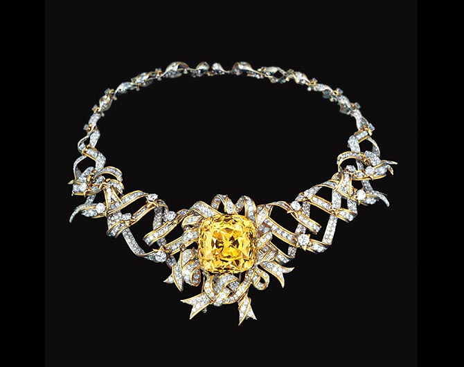 The 128.54-carat Tiffany Diamond was set at the center of Schlumberger's Ribbon Rosette Necklace in 1960. Photo courtesy