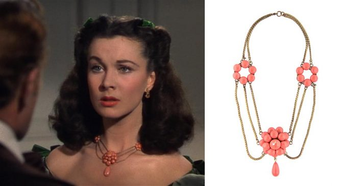 Film still of Vivien Leigh in 'Gone with the Wind' wearing a gold-plated, tiered necklace, done using Joseff's signature Russian plating technique, with coral-colored florets and a single suspended teardrop. Photo Julien's Auctions