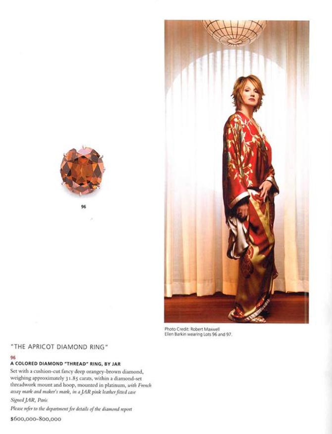A page from the Christie's Ellen Barkin October 10, 2006 catalogue showing the actress wearing her 'Apricot' diamond thread ring by JAR and the jewel. Photo via 1st Dibs
