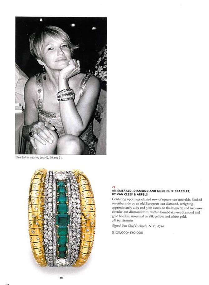 A page from the Christie's Ellen Barkin October 10, 2006 catalogue showing the actress wearing her emerald, diamond and gold cuff bracelet by Van Cleef & Arpels and the jewel. Photo via 1st Dibs