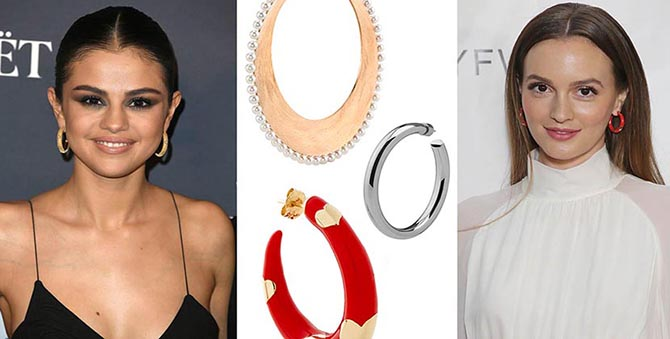 Selena Gomez in Cartier hoops; hoops by Irene Neuwirth, Jennifer Fisher and Alison Lou; Leighton Meester in Alison Lou hoops Photo Getty and courtesy