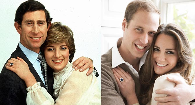 Official engagement portraits: Charles and Diana in 1981 and William and Kate in 2010. The Garrard sapphire and diamond engagement ring shines in both images. Photo Getty