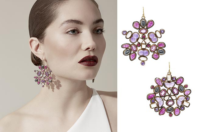 The one-of-a-kind 18K gold and silver Kaleidscope earrings by Judy Geib are set with ruby, amethyst, pink sapphire, moonstones and hematite.