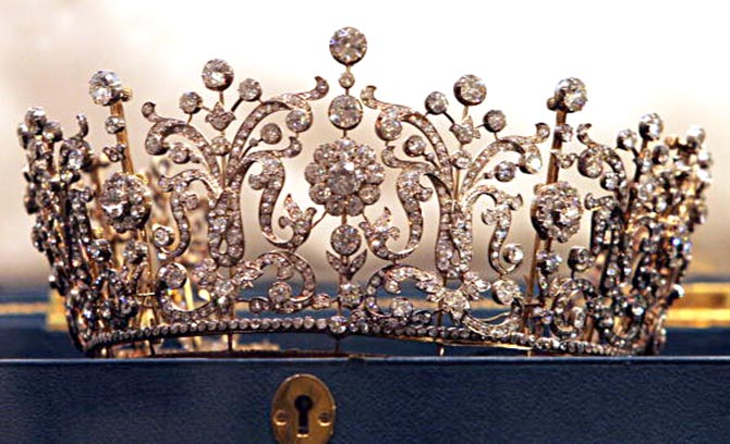 Princess Margaret's Poltimore tiara displayed at Christie's. Photo Getty Images