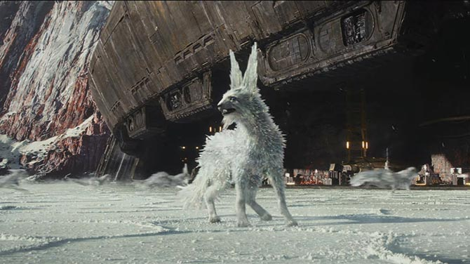 In 'The Last Jedi', the Vultpex foxes on Mineral Planet have coats of rock crystals. Photo © 2017 Lucasfilm Ltd.