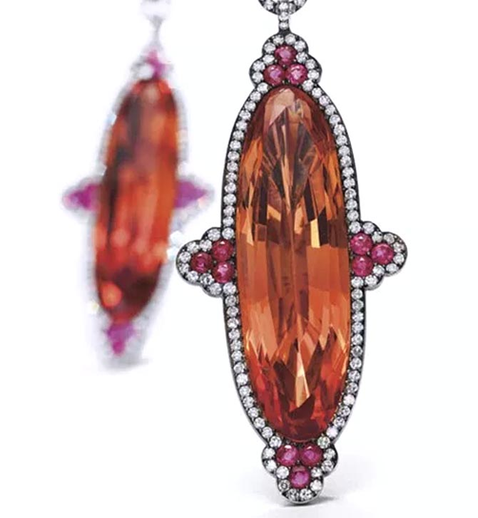 Ellen Barkin's topaz ruby and diamond earrings by JAR from the October 10, 2006 Christie's sale. Photo courtesy