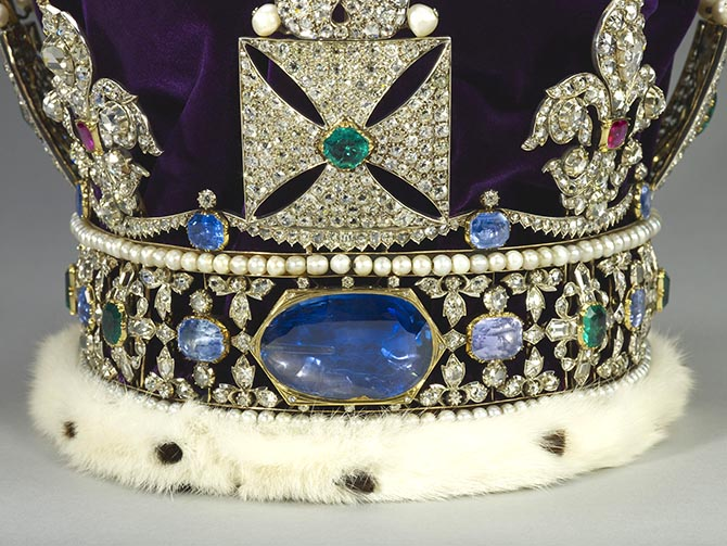 Detail image of the back of the Imperial State Crown showing the 104-carat Staurt Sapphire. Photo Royal Collection Trust/© Her Majesty Queen Elizabeth II 2017