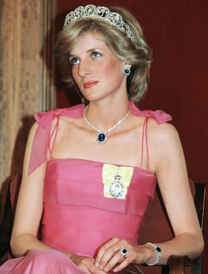 Princess Diana wearing the Spencer Family Tiara with a suite of sapphire and diamond jewels that match her engagement ring. The sapphire jewels were a gift from the Crown Prince of Saudi Arabia. Photo Tim Graham/Getty Images