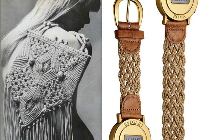 Page from 'Bulgari-Bulgari Collection' book by Marion Fasel: A model with a natural hemp cord macramé bag for Vogue (February 1972) and the 1975 Bulgari Roma digital limited-edition gold watch with a natural hemp cord macramé and leather strap. Photo © Antonio Barrella, Studio Orizzonte, Rome