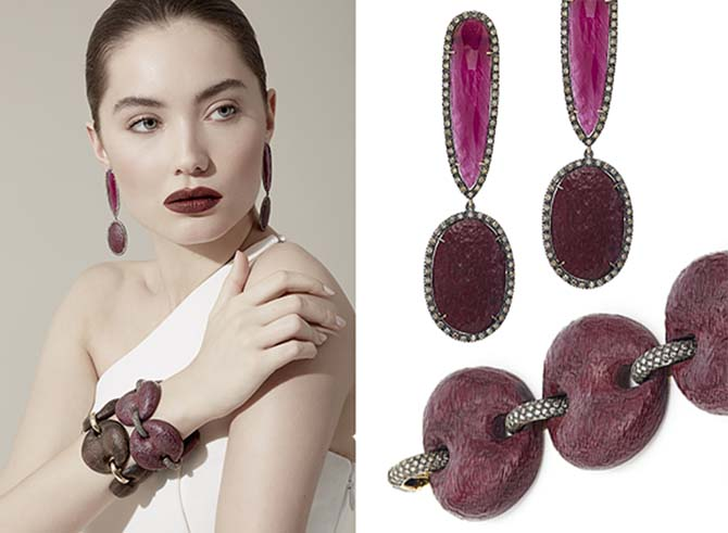 Wood is a signature material in Antoinia Miletto's jewelry. Her one-of-a-kind pendant earrings are set with Purpleheart wood, rubies and diamonds. Miletto's Marina Purpleheart wood bracelet has diamond and 18K gold links.