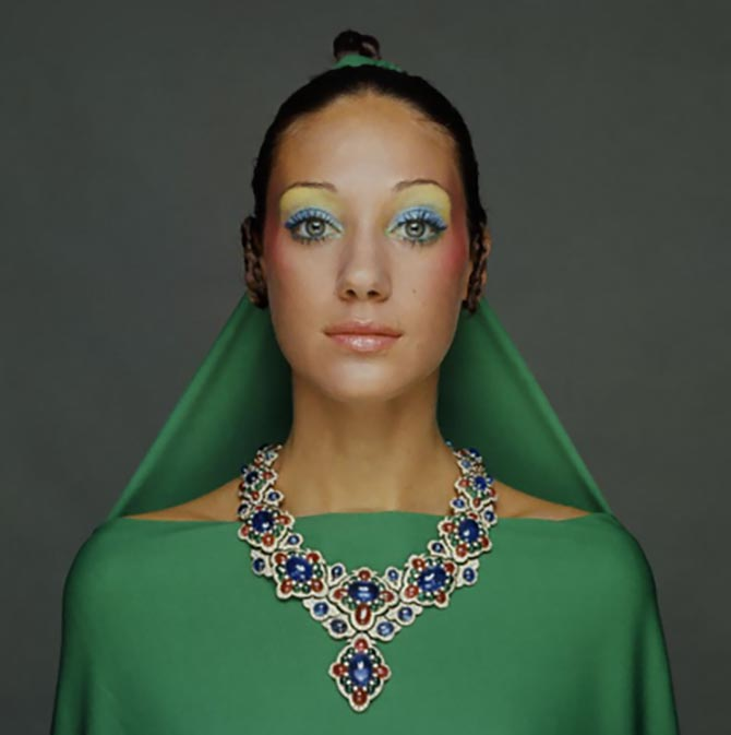 Marisa Berenson modeled a sapphire, ruby, emerald and diamond necklace for the 1970 issue of Vogue. Photo Gianni Turillazzi/Getty Images