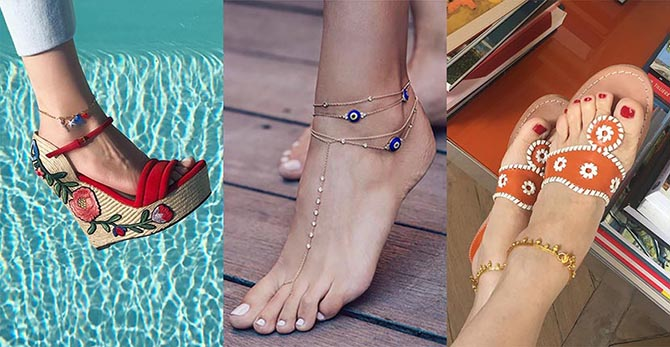 Jennifer Fisher models one of her charm anklets, a layered anklet look from Jacquie Aiche and Victoire de Castellane in a pair of gold Indian style anklets Photo @JenniferFisherJewelry/Instagram, @JacquieAiche/Instagram, @VictoiredeCastellane/Instagram