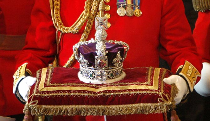 The Imperial State Crown arrives at the House of Lords, in Westminster, in London on November 6 2007, for the State Opening of Parliament. Photo Getty Images