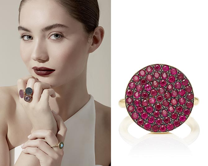 Elena Votsi makes her signature Cyclos ring set with a variety of gems. The still-life of the jewel above is set with Gemfields rubies.