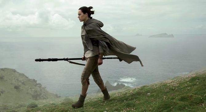 Rey (Daisy Ridley) on Luke Skywalker's secret island in 'The Last Jedi.' © 2017 Lucasfilm Ltd.
