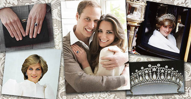 Collage with images of Diana in jewels Kate Middleton has worn surrounding William and Kate's official engagement portrait Photo Getty
