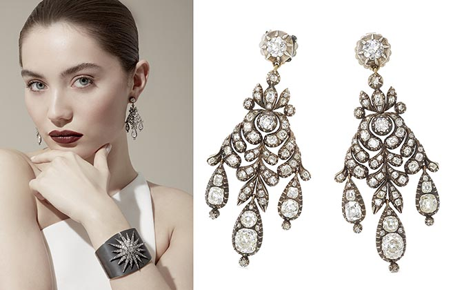 Fred Leighton's celebrated collection includes astonishing vintage pieces and new designs inspired by the old pieces. The earrings above are 19th century diamond and silver jewels. The one-of-a-kind bracelet is a beautiful marriage of an antique diamond starburst brooch set on a silver topped gold cuff.