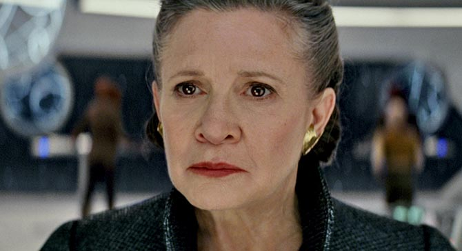 General Leia Organa (Carrie Fisher) wears dramatic earrings in 'The Last Jedi.' Photo © 2017 Lucasfilm Ltd.
