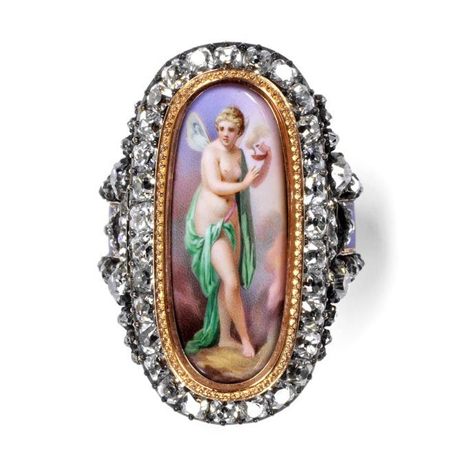 From 'Rings' an enameled gold ring set with brilliant-cut diamonds and a plaque by Charles Lepec featuring the goddess Psyche. Paris, France, c. 1870. Bought by Harriet Bolckow, the wife of a Middlesbrough steel magnate, from the jeweler Robert Phillips. Lepec was awarded a gold medal for enameling at the 1867 Paris Exposition Universelle. Photo V & A
