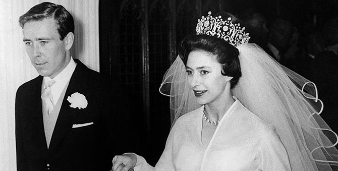 Princess Margaret in the Poltimore tiara leaving Westminster Abbey with Tony Armstrong Jones after their wedding. Photo Getty