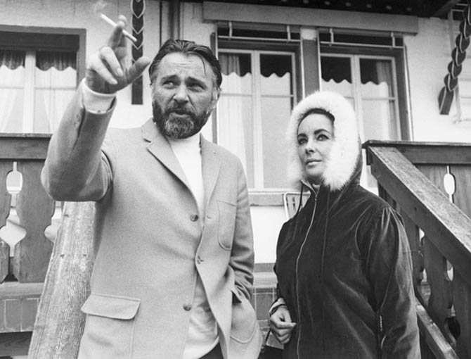 Richard Burton and Elizabeth Taylor on vacation in Gstaad, Switzerland. Photo Getty