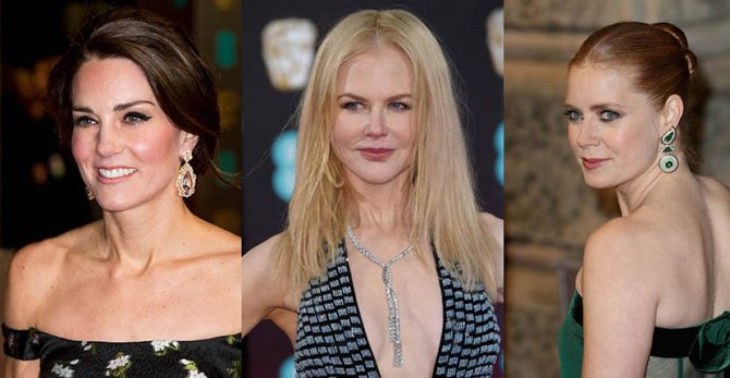 Kate Middleton in pendant earrings, Nicole Kidman in Harry Winston, Amy Adams in David Webb Photo Getty