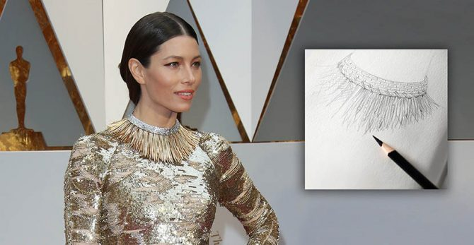 Jessica Biel wearing the gold, diamond and platinum Art of the Wild necklace at the 2017 Oscars and a sketch of the jewel from Tiffany Photo by Dan MacMedan/Getty Images and Tiffany & Co.