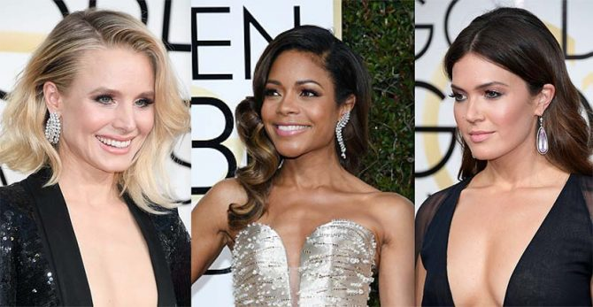 Kristen Bell in Harry Winston, Naomie Harris in Tiffany and Mandy Moore in Neil Lane Photo by George Pimentel/WireImage; Kevork Djansezian/Getty Images; Venturelli/WireImage