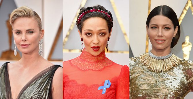 Charlize Theron in Chopard, Ruth Negga in Irene Neuwirth set with Gemfields Rubies, Jessica Biel in Tiffany Photo Getty