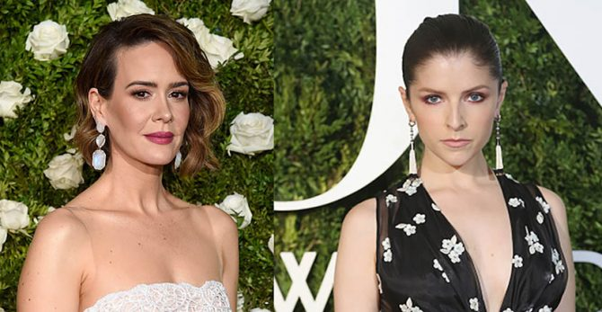 At the 2017 Tony Awards, Sarah Paulson in Irene Neuwirth earrings and Anna Kendrick in Cartier earrings Photo Getty