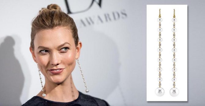 Karlie Kloss wearing Irene Neuwirth pearl and diamond shoulder dusters at the 2017 DVF Awards Photo by Roy Rochlin/FilmMagic and courtesy of Irene Neuwirth