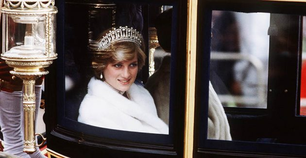 Princess Diana wearing the Cambridge Lover's Knot Tiara, her triple strand pearl necklace and pearl pendant earrings on her way to the State Opening of Parliament in 1981 Photo by Anwar Hussein/WireImage