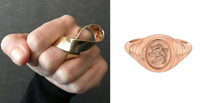 Jewelry for breast cancer awareness month: Jennifer Fisher Script ring and Retrouvaí limited edition pink gold lion signet ring Photo @JenniferFisherJewelry/Instagram and Retrouvaí