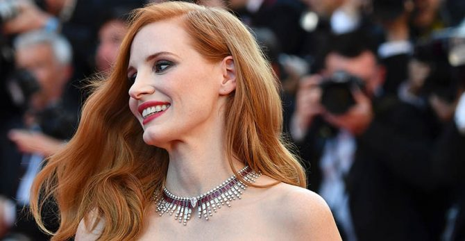 Jessica Chastain in Piaget's ruby and diamond Sun on Fire necklace at the Cannes Film Festival Opening Ceremony Photo Alberto Pizzoli/Getty Images