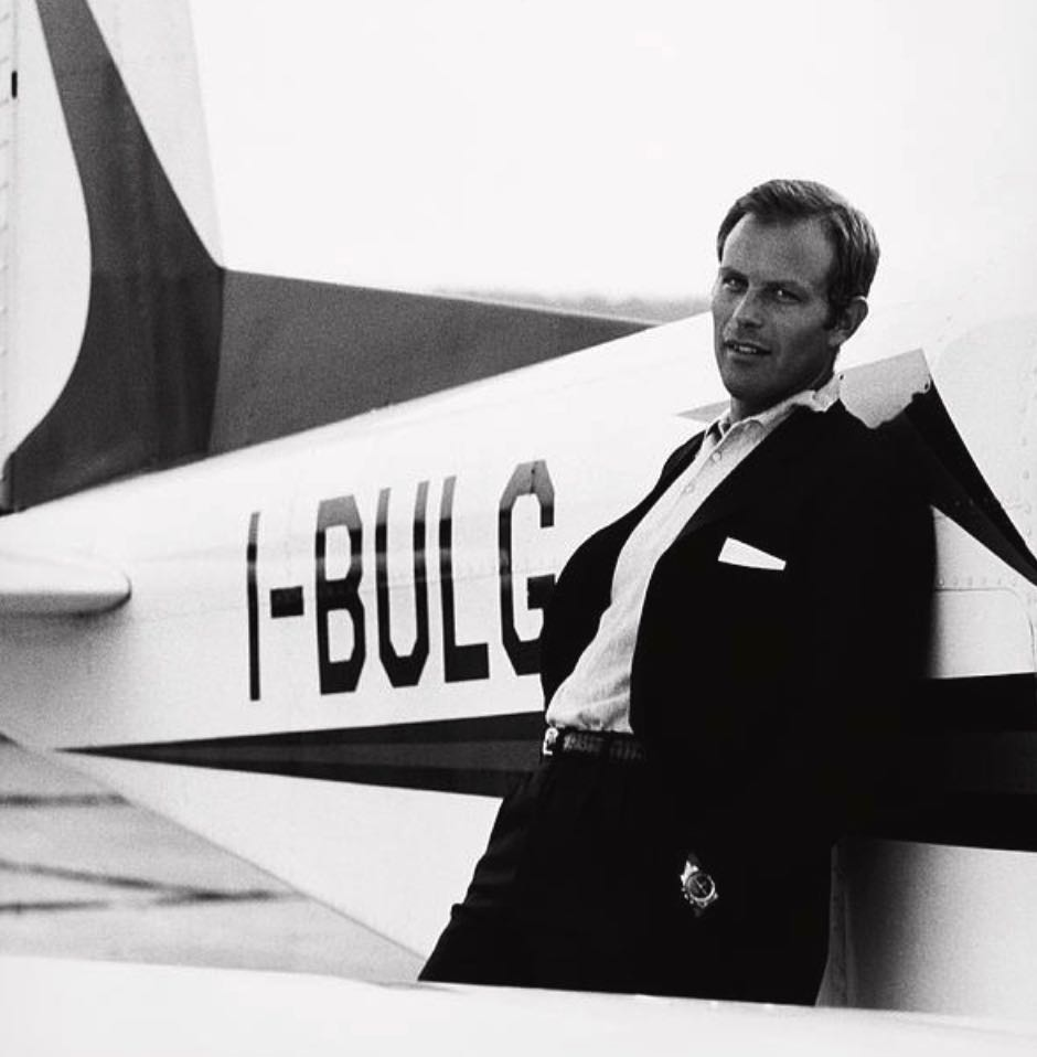 Gianni Bulgari posed in front of his plane for the June 1, 1969 issue of 'Vogue.' Photo via Condé Nast