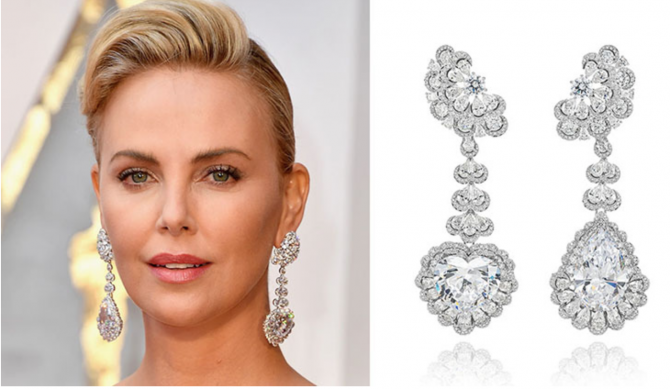 Charlize Theron wearing the long Garden of Kalahari diamond pendant earrings (at right) on the red carpet at the 2017 Oscars Photo Steve Granitz/WireImage and courtesy