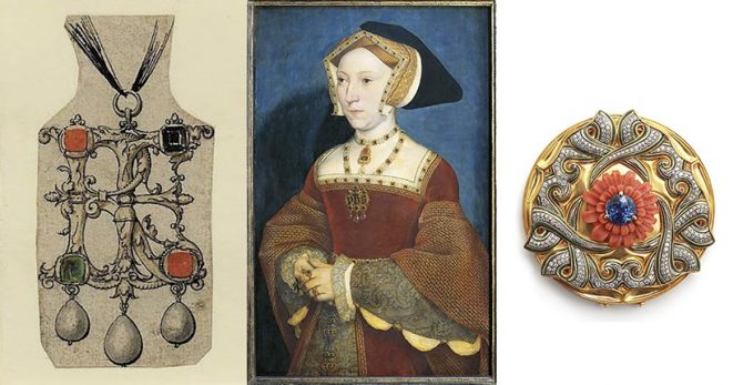 A rendering of a Holbein monogram pendant most likely made for Queen Jane Seymour; Hans Hoblein portrait of Queen Jane Seymour; A contemporary Otto Jakob jewel Courtesy of the British Museum, Getty and Otto Jakob