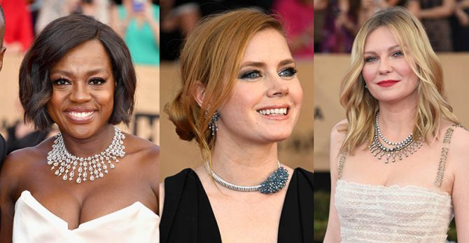 Viola Davis in a Nirav Modi necklace, Amy Adams in Cartier jewels, Kirsten Dunst in Fred Leighton necklaces Photo FREDERIC J. BROWN/AFP/Getty Images; Frazer Harrison/Getty Images