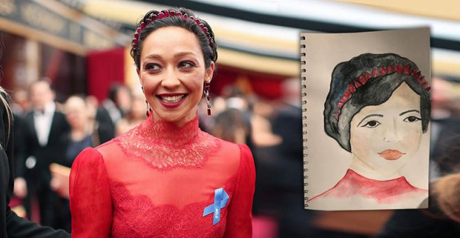Ruth Negga in the Gemfields x Irene Neuwirth tiara and earrings at the 2017 Oscars; (Inset) Irene's design of Ruth in the jewel Photo by Christopher Polk/Getty Images; Drawing courtesy of Irene Neuwirth