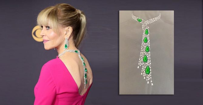 Jane Fonda wearing the Gismondi 1754 emerald, diamond and platinum necklace and earrings at the 2017 Emmys and drawing of the necklace Photo Dan MacMedan/Getty Images and Gismondi 1754