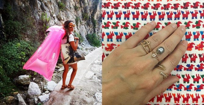 Sara Beltrán carrying one of her tote bags and Daniela Villegas wearing a handful of her rings. Photo Sara Beltrán and Daniela Villegas/Instagram