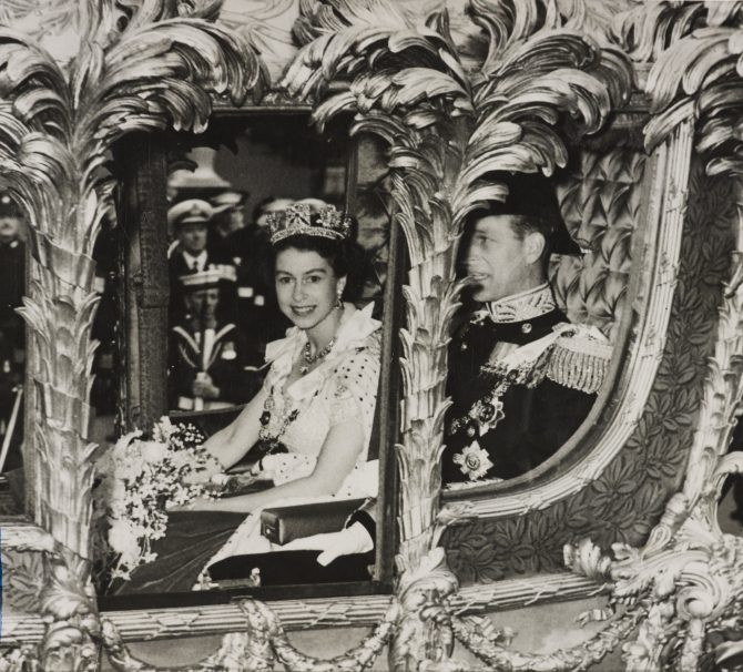 Queen Elizabeth and Prince Philip riding in the Gold State Coach. Photo Royal Collection