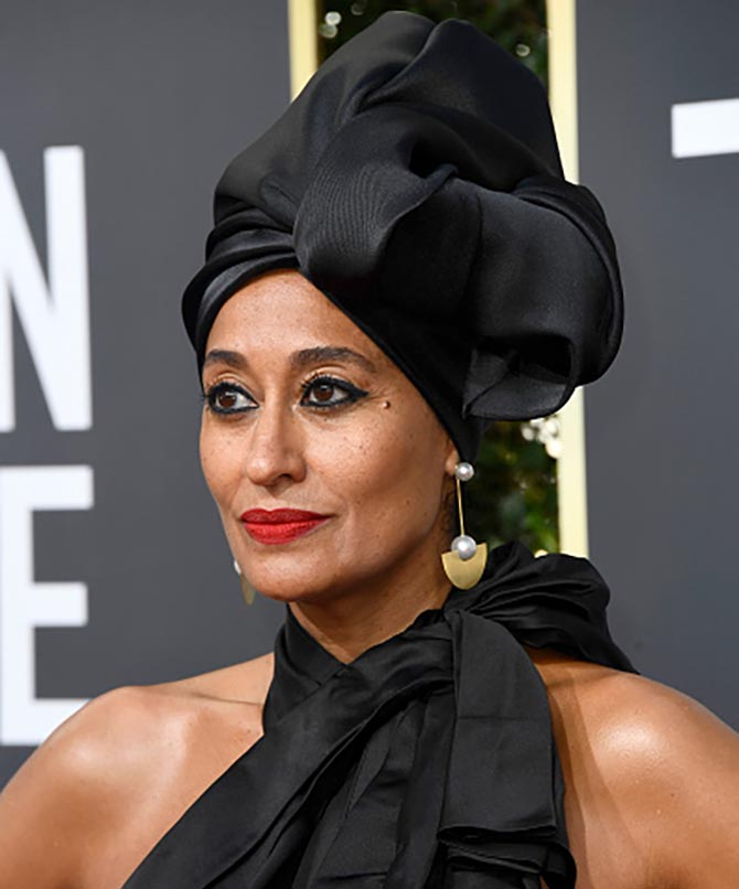 Actor Tracee Ellis Ross in Irene Neuwirth earrings and Marc Jacobs attends The 75th Annual Golden Globe Awards at The Beverly Hilton Hotel on January 7, 2018 in Beverly Hills, California. (Photo by Frazer Harrison/Getty Images)