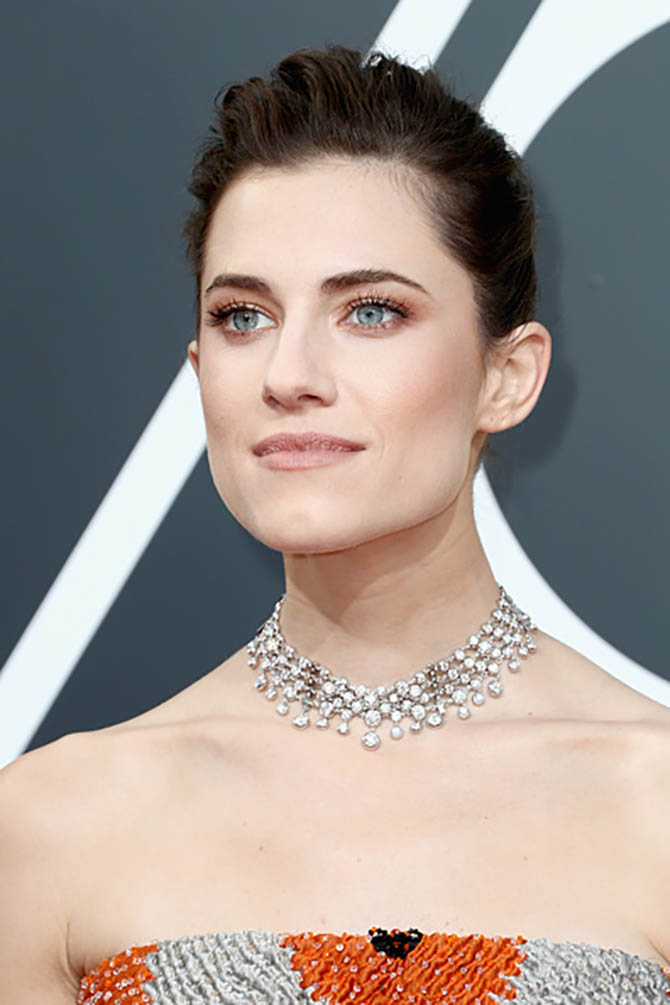 Allison Williams in a Forevermark necklace at The 75th Annual Golden Globe Awards