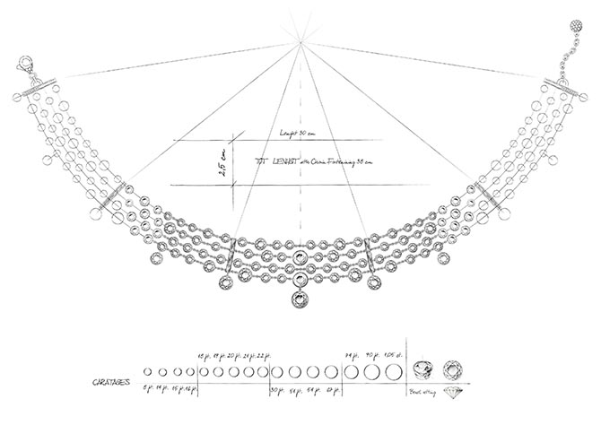 Design for the Forevermark four row diamond choker worn by Allison Williams to the Golden Globes. Photo courtesy