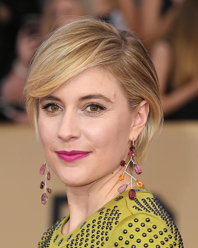 Actor/director Greta Gerwig in Irene Neuwirth earrings at the 24th Annual Screen Actors Guild Awards.