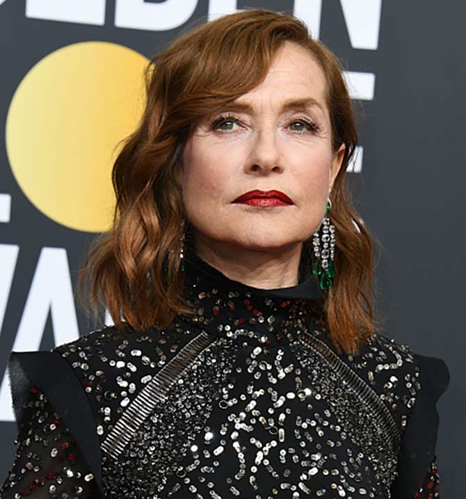 Isabelle Huppert in Chopard earrings at the 75th Golden Globe Awards on January 7, 2018, in Beverly Hills, California.