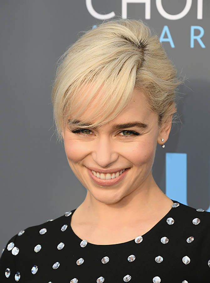 Emilia Clarke in Antia Ko diamond earrings at the Critics' Choice Awards